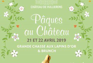 Flyer pour la promotion de notre Grande chasse aux lapins d'or au Château de Vullierens.