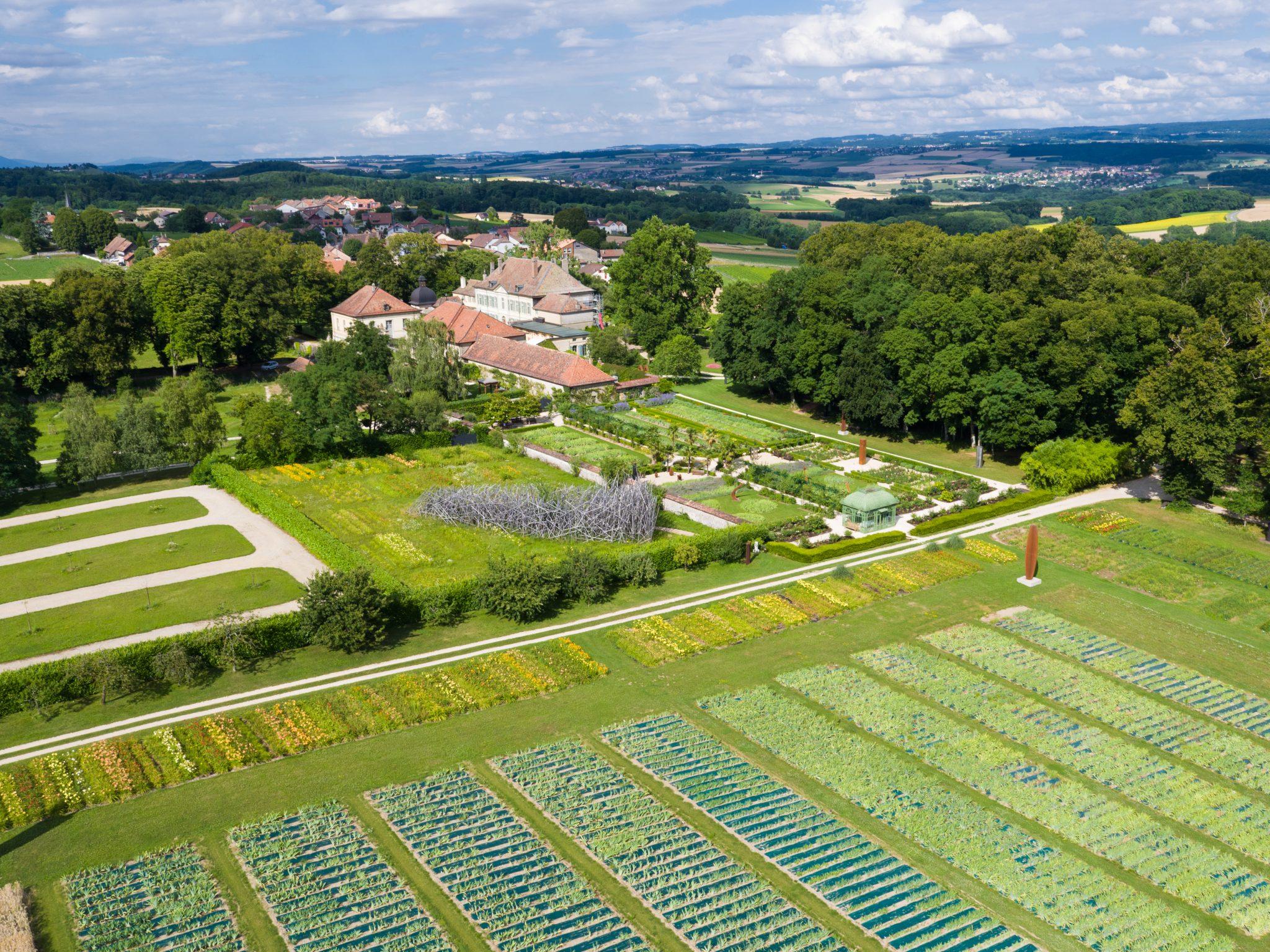 Vue aérienne du Château de Vullierens lors de la floraison des Lys-hémérocalles.